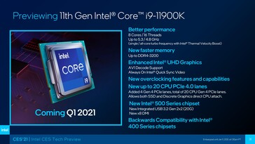 Intel Rocket Lake-S Core i9-11900K - Características. (Fuente: Intel)