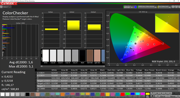 CalMAN ColorChecker calibrado (espacio de color de destino sRGB, Windows)