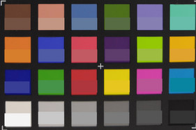 ColorChecker: la mitad inferior de cada parche muestra el color de referencia.