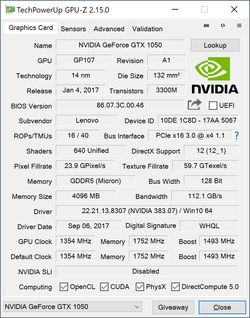 GPU-Z GeForce GTX 1050