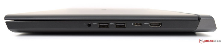 Derecha: 3,5 mm de audio, 2x USB 3.1, USB Type-C con Thunderbolt 3 a 40 Gbps, HDMI 2.0