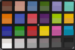 Colorchecker: la mitad inferior de cada campo muestra el color original.