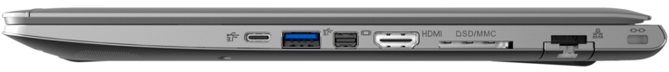 Derecha: 1x Thunderbolt 3, 1x USB 3.1 Gen1, Mini Display Port, HDMI, lector de tarjetas 6 en 1, LAN, Kensington Lock