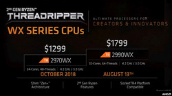 AMD Ryzen Threadripper 2970WX y 2990WX (Fuente: AMD)