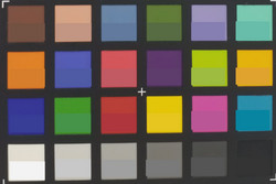 ColorChecker Passport: color objetivo mostrado en la mitad inferior de cada parche.
