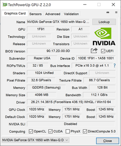 Nvidia GeForce GTX 1650 Max-Q