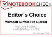 Editor's Choice Award in Octubre 2018: Microsoft Surface Pro 6 (2018)