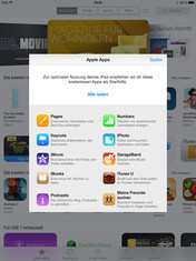 Free Apple apps are offered when the App Store is first loaded.