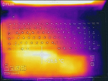 Temperature increase (idle) - top side