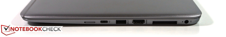 right: SIM-slot, USB-C, USB 3.0, HDMI, docking, power