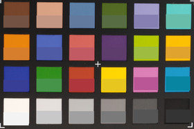 ColorChecker colors photographed. In the bottom half of each patch, the original color is shown.