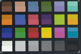 ColorChecker colors photographed. The bottom half of each patch shows the original colors.