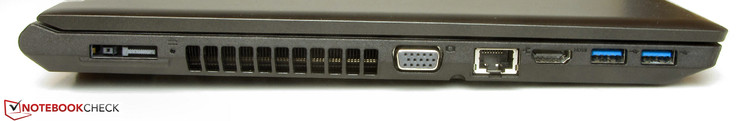 Left: Power-in, docking port, VGA-out, Gigabit-Ethernet, HDMI, 2x USB 3.0