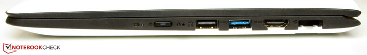 right: power button, One Key Recovery button (recessed), USB 2.0, USB 3.0, HDMI, Gigabit-Ethernet