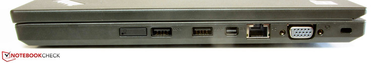 Right: SIM-card slot, 2x USB 3.0, mini-Displayport, Gigabit Ethernet, VGA-out, Kensington lock slot