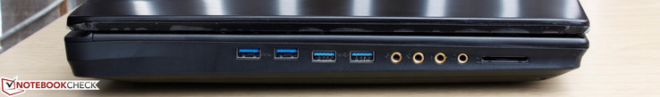 Left: 4x USB 3.0, Mic-in, SPDIF, Line-in, Line-out