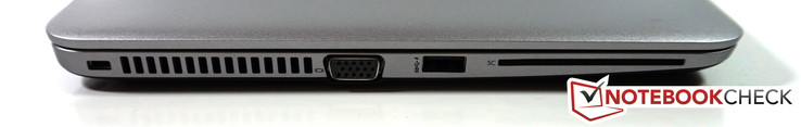 Left: Kensington lock, VGA; USB 3.0, SmartCard reader